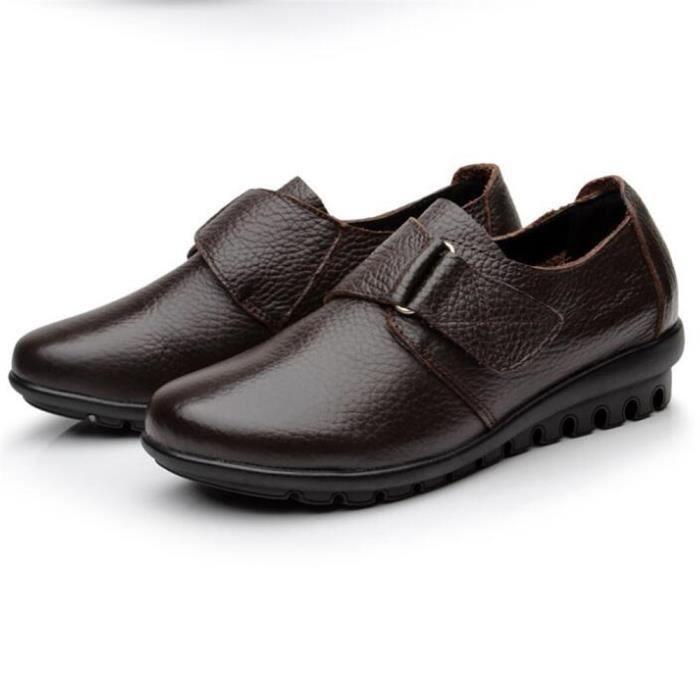 Chaussures Femme Printemps Été Comfortable Cuir Chaussure BXFP-XZ063Marron36