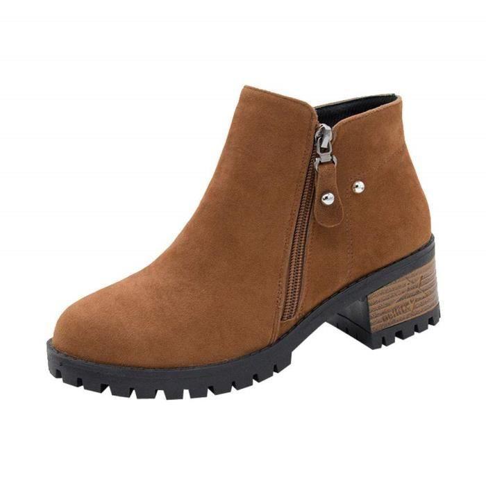7604cc92f87 Femme Daim Bottine Femmes Plates Basse Cuir Bottes Chelsea Chic CompenséEs  Grande Taille Talon Chaussures