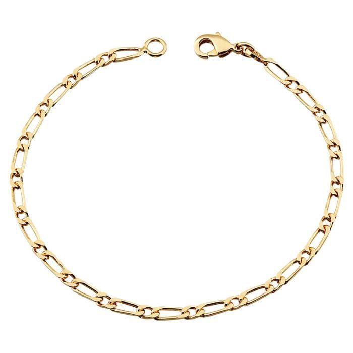 Bracelet Maille alternée 18 cm Plaqué or