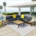 Salon d\'angle de jardin design aluminium couleur Gris Noir - MILANO