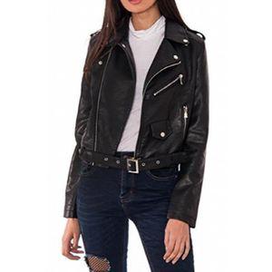 BLOUSON Women's Black Faux Leather Biker Jacket Zip Studs