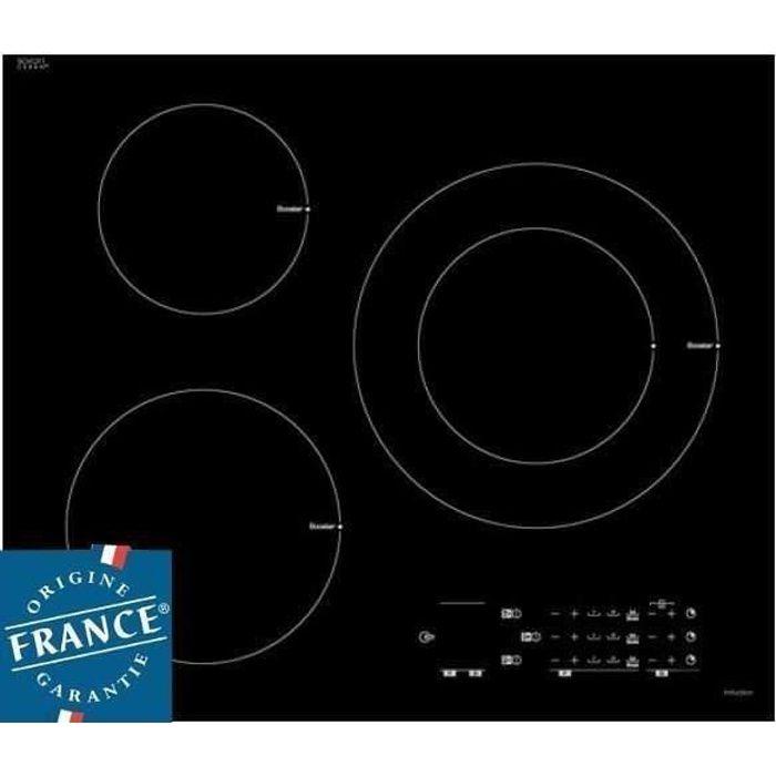 SAUTER SPI6300 - Table de cuisson induction - 3 zones - 7200 W - L 60 x P 52 cm - Revêtement verre - Noir