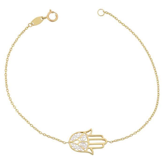 Womens 10k Two-tone Gold Hamsa Bracelet (7.25 Inch) UG80Z