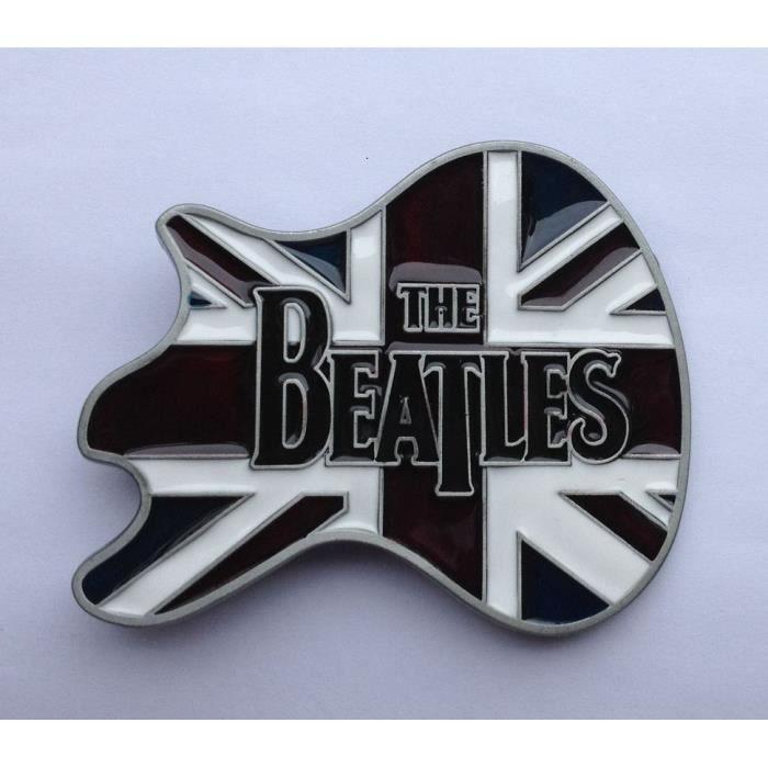 ba9005608b47 Boucle De Ceinture The Beatles Sur Drapeau Anglais En Forme De  Guitar-Rocker-Motar-Fan