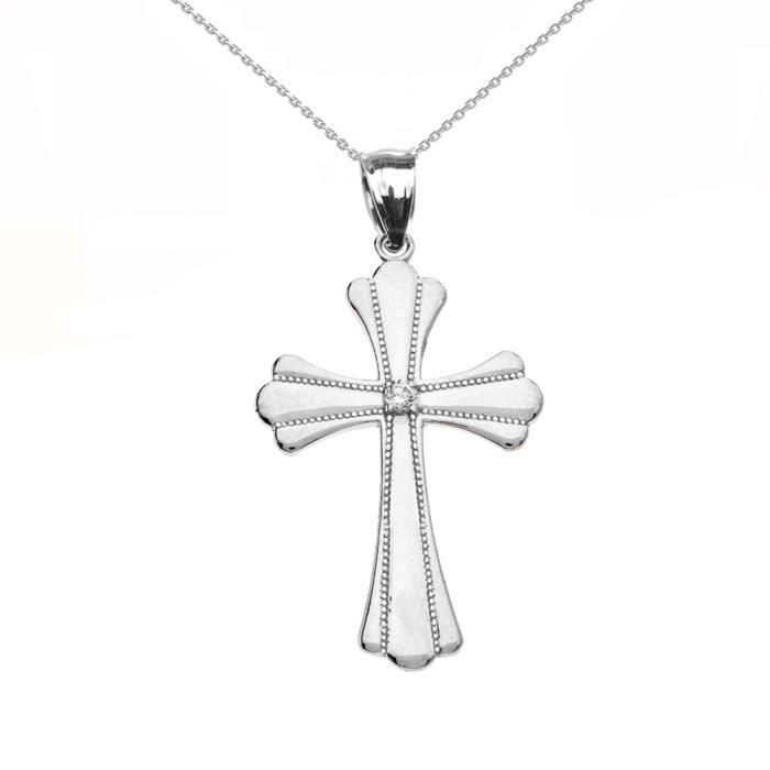 Collier Femme Pendentif 925 Argent Fin Solitaire Diamant Poli Élevé Milgrain Croix (Livré avec une 45cm Chaîne)