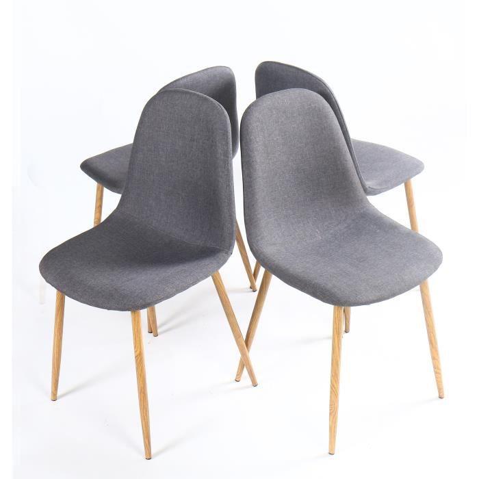 Gilda lot de chaises de salle manger en tissu with chaise for Chaise plexi grise