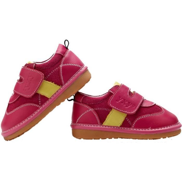 YXY - Chaussures à sifflet   Baskets rose bande jaune - Pointure: 26