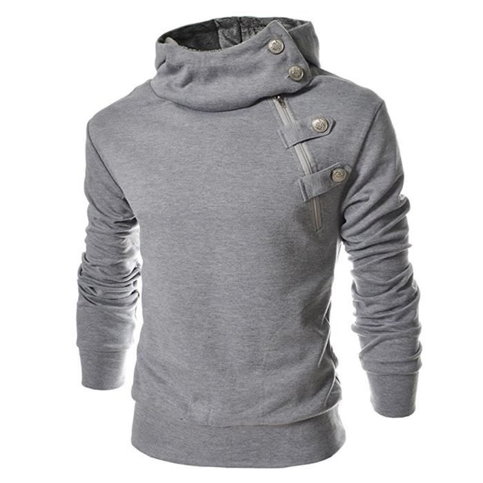 pull over sweat homme assassincreed style chaud gris gris clair achat vente pull soldes. Black Bedroom Furniture Sets. Home Design Ideas