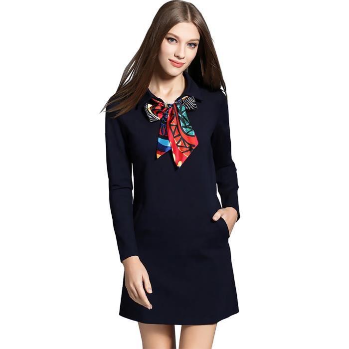 Bureau de coton de haute qualité nouvel automne 2017 robe bleu noir bandage à manches longues grande taille