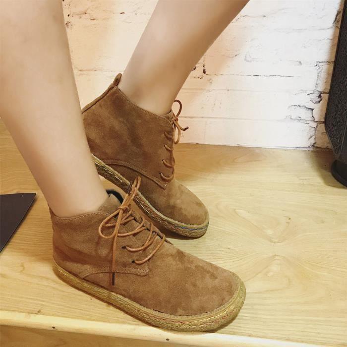 Women Ladies Soft Flat Ankle Martin Chaussures Femme Bottes en dentelle en cuir de daim