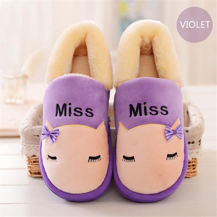 chausson Mignon hiver Bande dessinée mignonne chat pantoufles femmes Velours et chaussures intérieur chaussons dssx346violet37