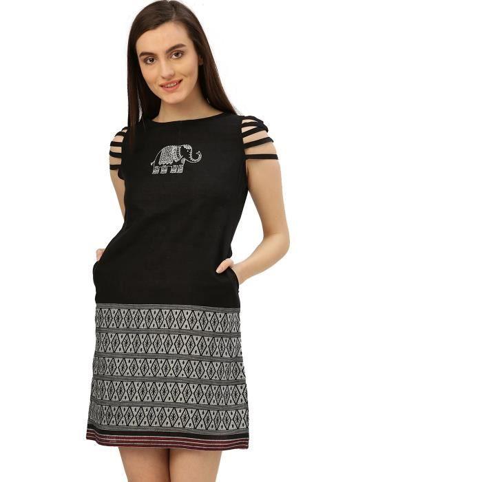 Robe brodée Handloom de femmes (noir) 1HTTJK Taille-32