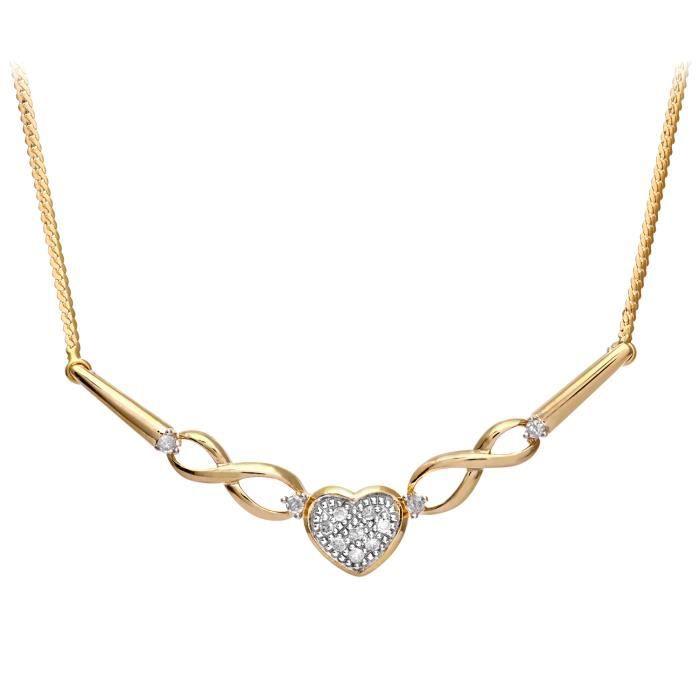 Revoni - Collier en or jaune 9 carats et diamants - REVCDPNE01409Y