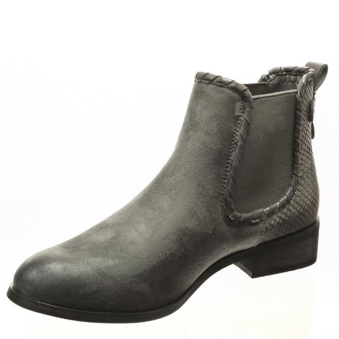 Angkorly - Chaussure Mode Bottine chelsea boots bi-matière femme peau de serpent clouté Talon bloc 3 CM - Intérieur Fourrée - Gri... AuKMfG5QY