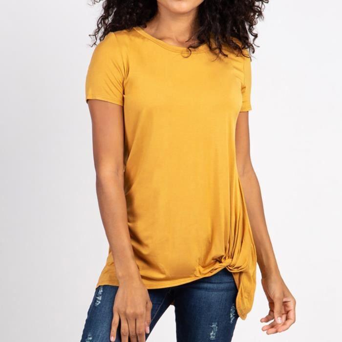 Pour De shirt T Femmes Et Grossesse Courtes Manches Jaune À w0Sxpxq5a