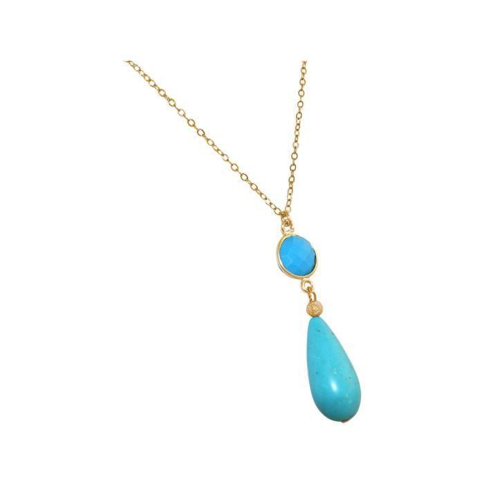 Collier avec des pierres précieuses Gemshine turquoise. Pendentif en or 925 dargent ou de qualité élevée à 60 cm chaîne. Fait à