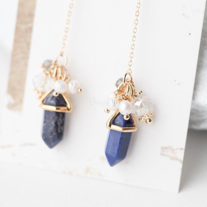 Craze Navy Blue Lapis Mixte Cristal Perle longue Dangle Boucles doreilles