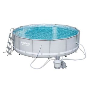 BESTWAY Kit Piscine tubulaire ronde Power Steel Frame Pool 427x107 avec filtre ? sable