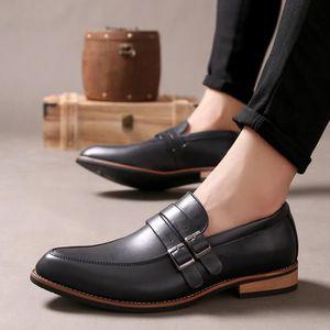 Marque New Style Eté Hommes Chaussures plates en cuir Oxford Business Pointu Toe Mocassins,noir,7,725_725