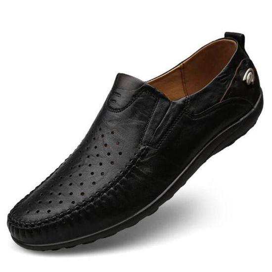 3cd950b1cb0 Chaussures homme gratuites En Cuir Respirant Moccasin hommes Marque De Luxe chaussure  Grande Taille Loafer Confortable Noir Noir - Achat   Vente mocassin - ...
