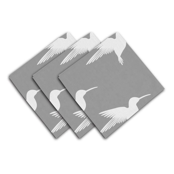 SOLEIL D'OCRE Lot de 3 serviettes de table Colibri - 40x40 cm - Gris