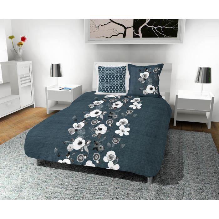 SOLEIL D' OCRE Parure de couette Aquarelle 100% coton - 1 housse de couette 220 x 240 cm + 2 taies d'oreiller - Bleu