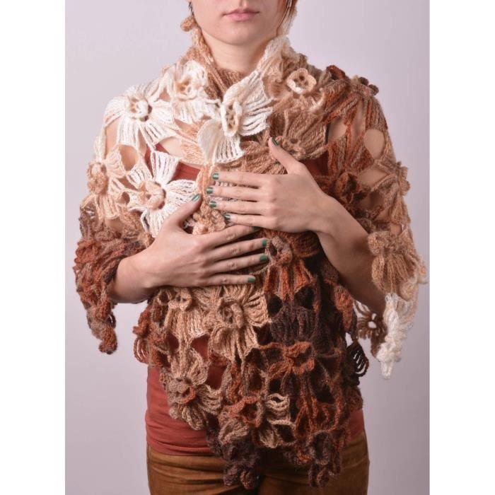 3a752025174 Châle en tricot Accessoire fait main angora au crochet marron Cadeau pour  femme - 1436774953