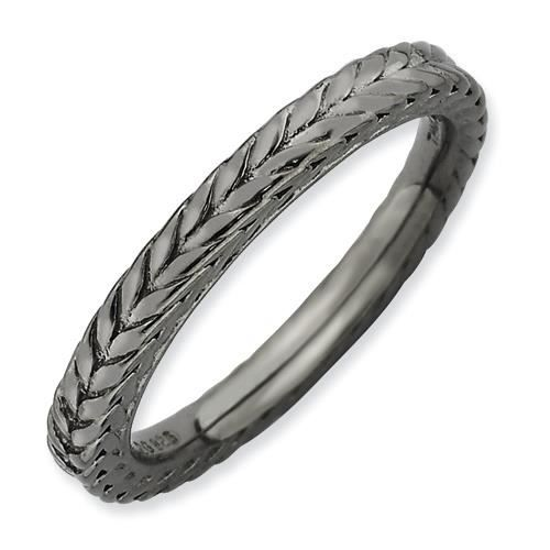 2,5 mm Argent Sterling Expressions empilable Noir-dôme-Ring-Taille J 1/2