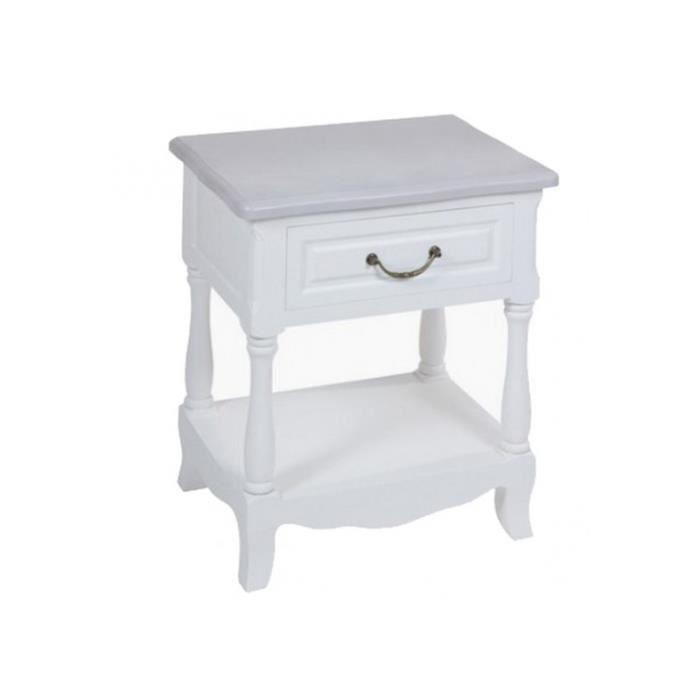 Table de chevet blanc laquee achat vente table de - Table de chevet bois blanc ...