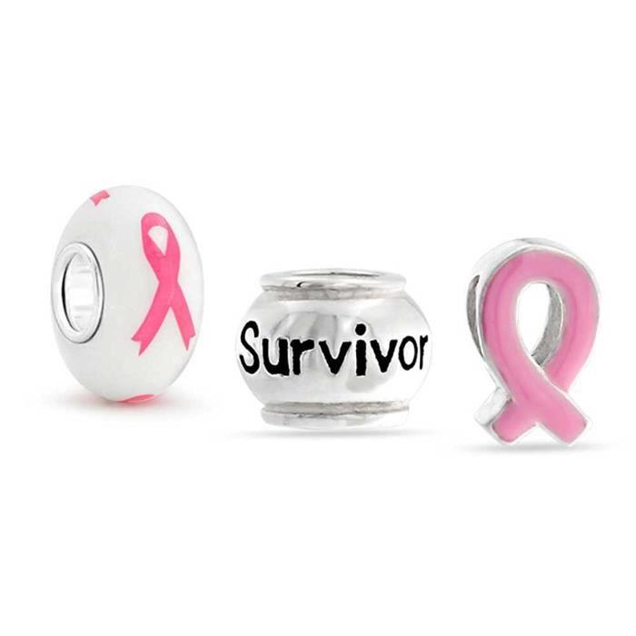 Argent 925 Sensibilisation Au Cancer Du Sein Ruban Rose Survivant Ensemble Cordon Charm