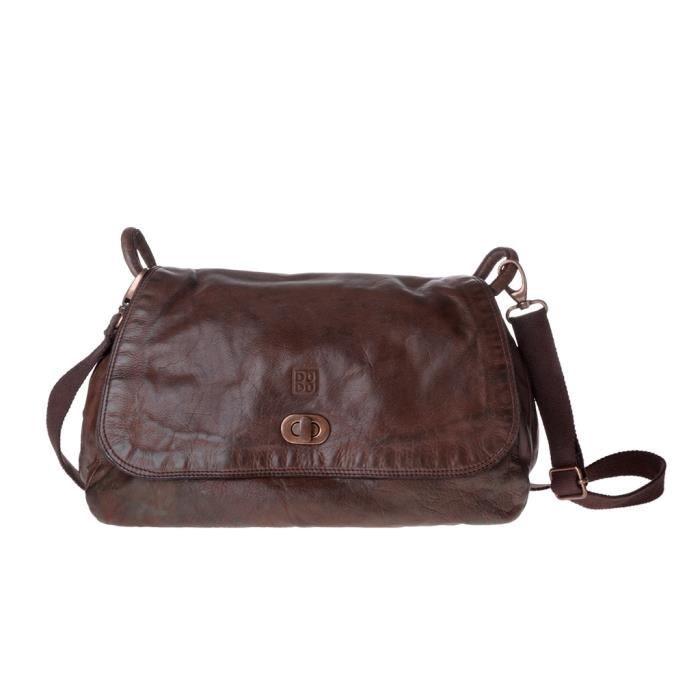 Grand sac en cuir lavé teinté produit fini avec rabat DUDU Cocoa Brown
