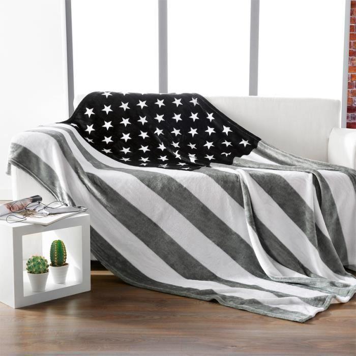 plaid noir et blanc achat vente plaid noir et blanc pas cher cdiscount. Black Bedroom Furniture Sets. Home Design Ideas