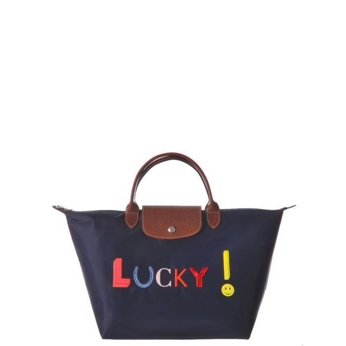 Femme Longchamp Sac Main Lucky Porté Navy Pliage 5xar7