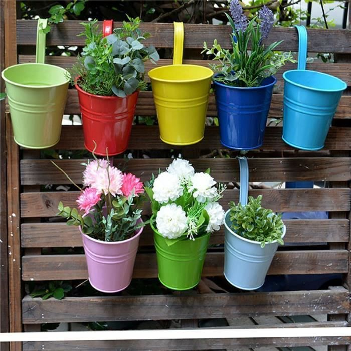 10pcs pot de fleur suspendus pots de jardin balcon seau en. Black Bedroom Furniture Sets. Home Design Ideas