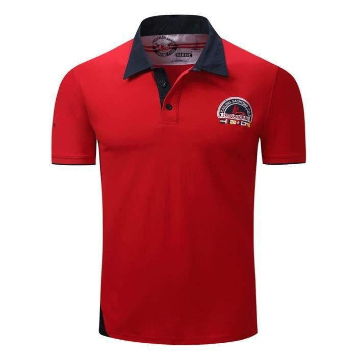 f7ae48c5b3 Homme Polo Bouton Manches Courte Slim Fit Mince Taille Standard ...