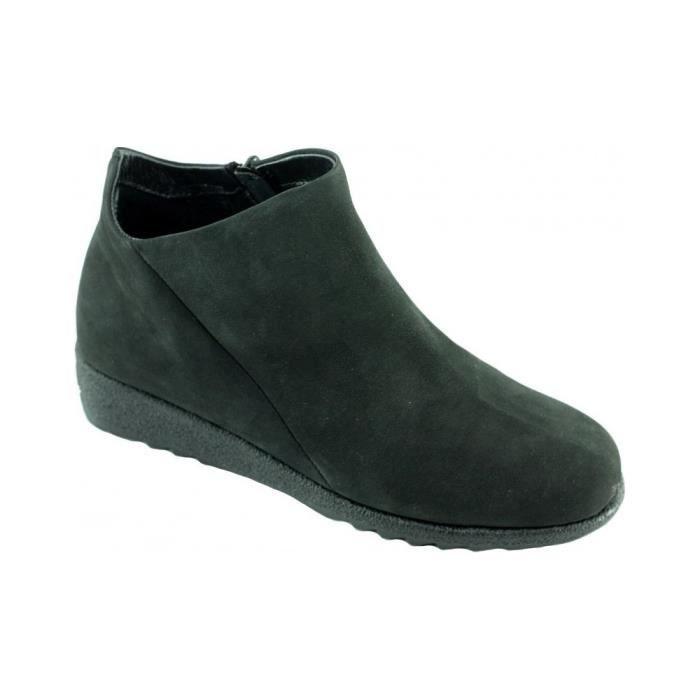 f81b67ea038285 Loaf - Bottine compensée fermeture éclair chaussures boots très souple  confortable pour Femme pieds sensibles cuir nubuck noir