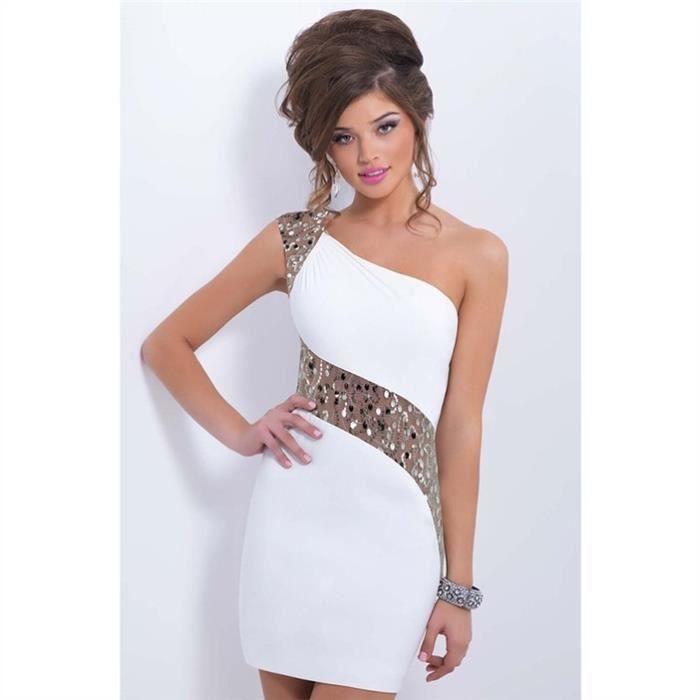 de épaule une Femmes robe soirée courte pailletée Blanc 8XqzzxZ4w
