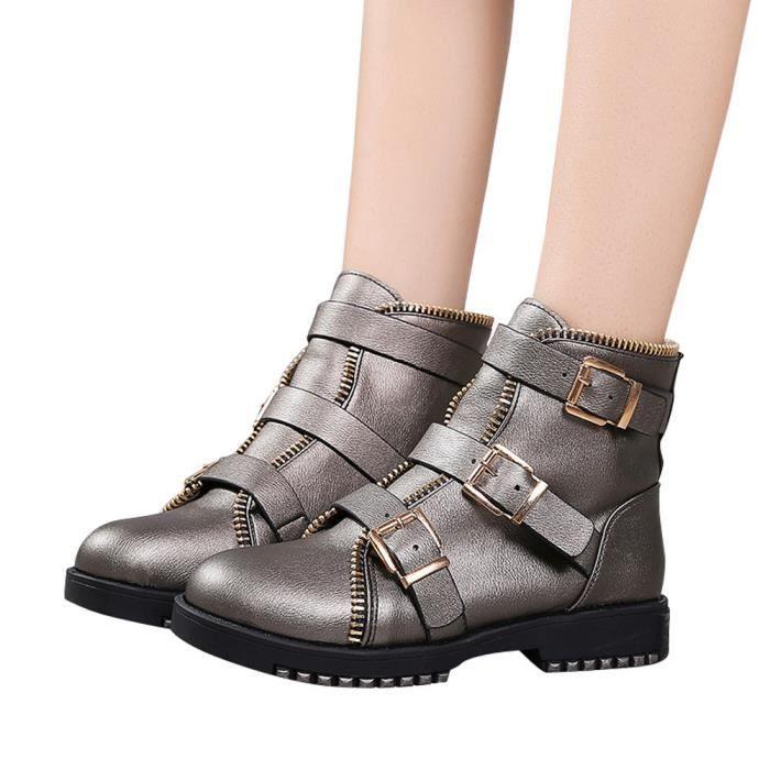 Casual Femmes Boucle Gris Cuir Martin Bracelet Bottes Bout Vintage Plat Chaussures Rond w0CRT7qw