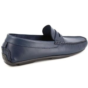 Marine en Homme Cuir Bleu Mocassin Chaussures x0ZAXq