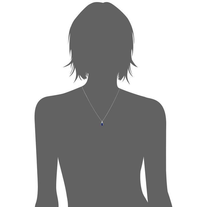 Argent sterling créé et saphir bleu-diamant accent collier pendentif, 18 F3RB1
