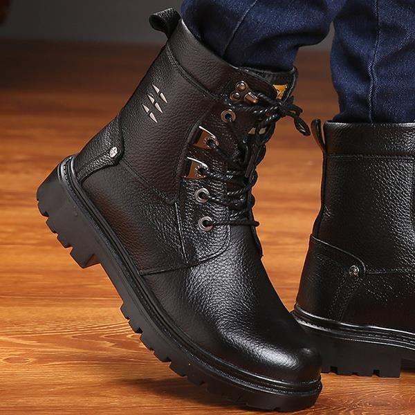 Bottes d'hiver des hommes de cuir véritable Martin Bottes pour homme Vintage cheville fourrure Bottes de cowboy chaussures iFXzLaB