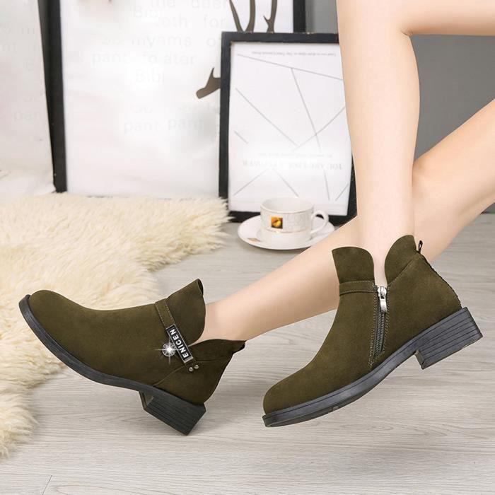 Chaussures Tête Pageare6018 Zipper Bas Bottes Martin Femme Ronde Mode Femmes WqIAc0W