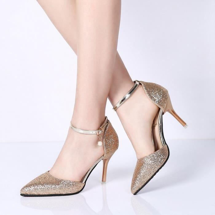 Sexy Buckled Femmes Haut Pointu Paillettes Stiletto Sauvage Ceinture Chaussures Simples love13283 heeled xYtdvw