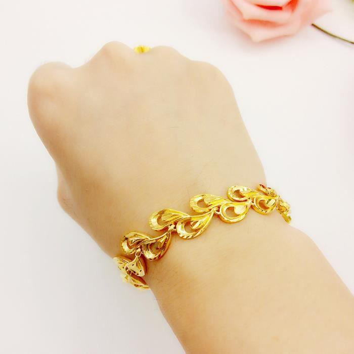 plaqué délicat paon chaîne plume bracelet 24k or jaune femmes bracelet à la mode