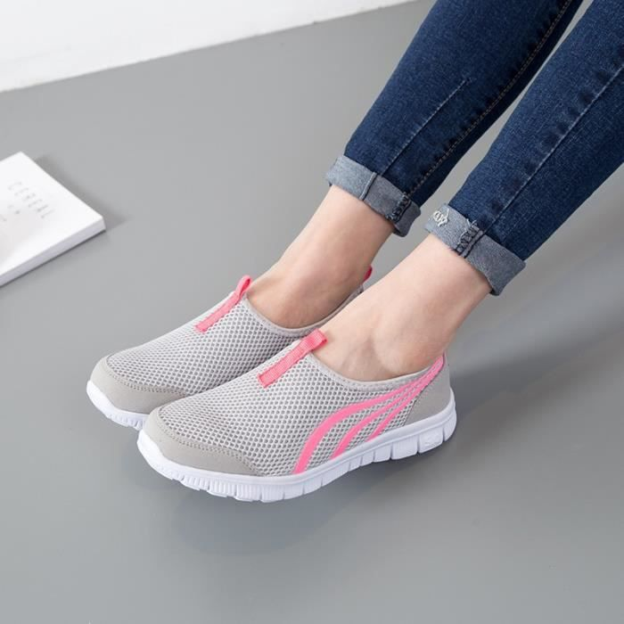 chaussures de sport respirant à lacets en plein air l'été chaussures de course de sport Chaussures Baskets marche en plein air Mesh