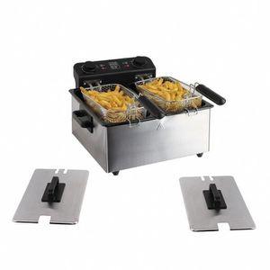 FRITEUSE ELECTRIQUE Friteuse double 2X 3 L 3300W Noir/Gris