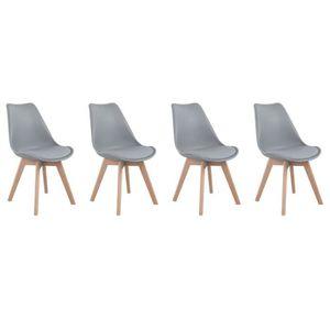 CHAISE Lot de 4 chaises scandinaves NORA grises avec cous