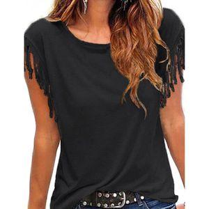 T-SHIRT T-shirt femme Finejo manches courtes glands knotte