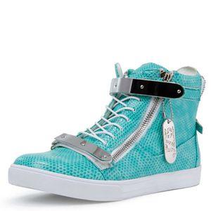J75 ronde hommes Zion Toe strass Bracelet à lacets haut-top Sneaker ZA466 Taille-44 1-2 z6EM25