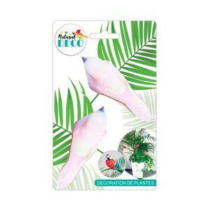 1fb72b8c3bb54 FLEUR ARTIFICIELLE DECO Déco Plantes – Lot de 2 Oiseaux Rose CD3847 S